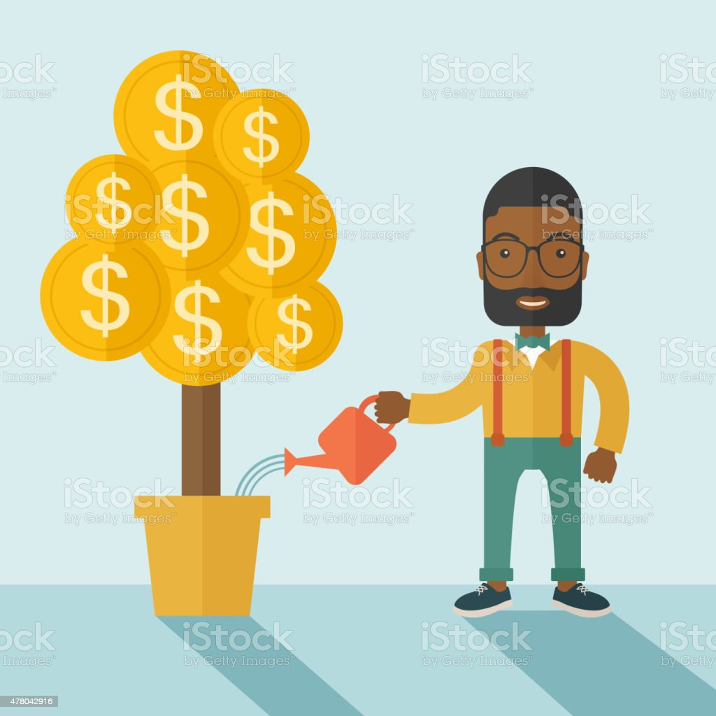 African businessman happily watering the money tree vector art illustration