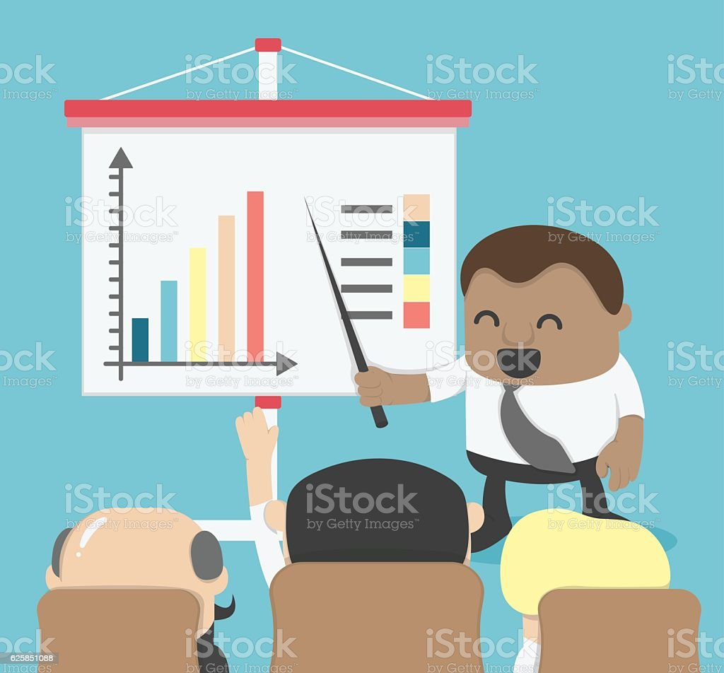 African Businessman presented to the Board meeting or presentati vector art illustration