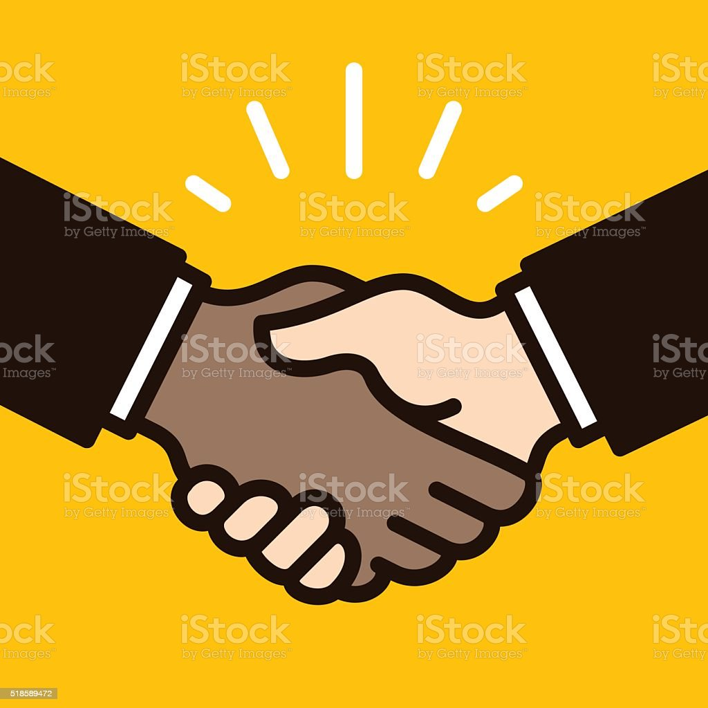 African & Caucasian Handshake filled outline style vector art illustration