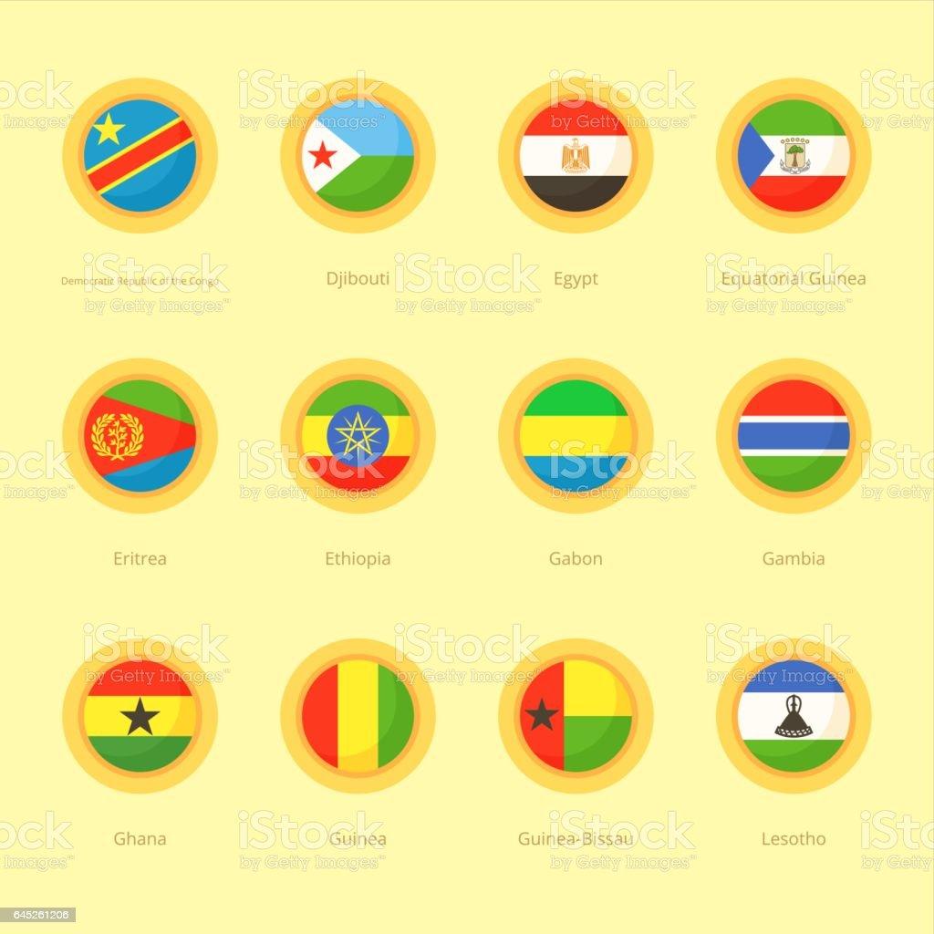 African Circular Flags (DR Congo, Egypt, Ethiopia) vector art illustration