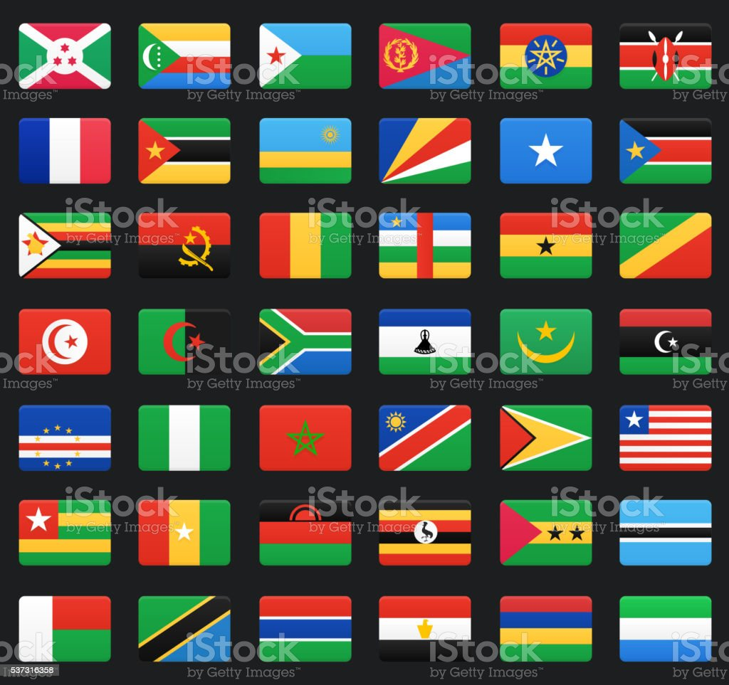 African countries flags vector art illustration