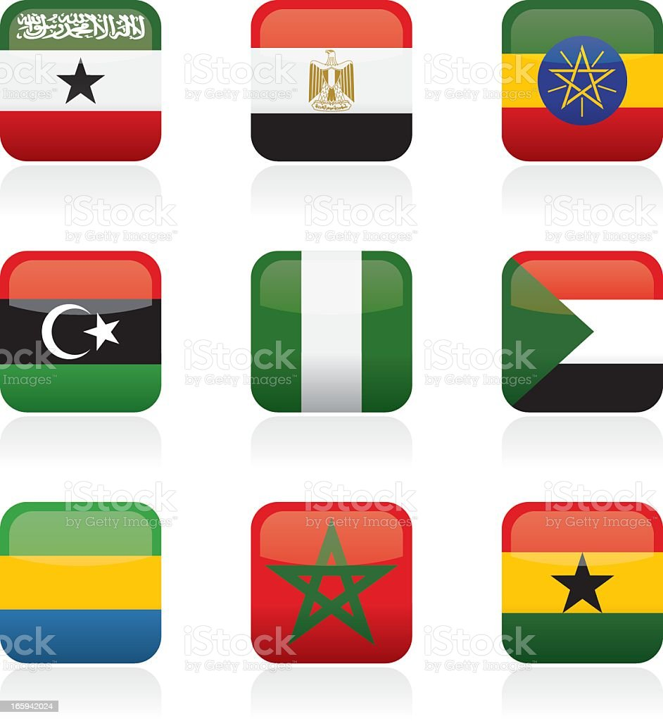 African Country Buttons vector art illustration