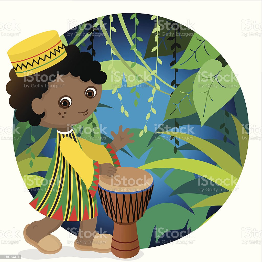 African cute drum boy vector art illustration