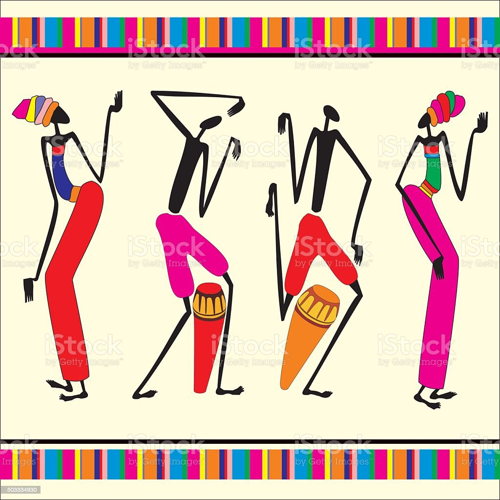 La danse africaine ornement stock vecteur libres de droits libre de droits