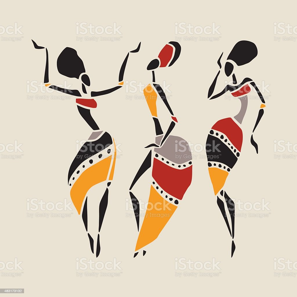 African dancers silhouette set vector art illustration