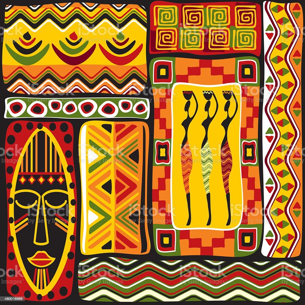 African design elements vector art illustration