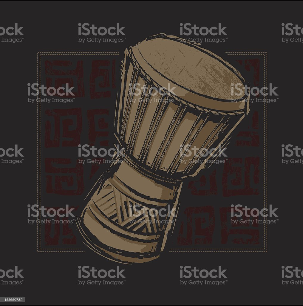 African Djembe Drum royalty-free stock vector art