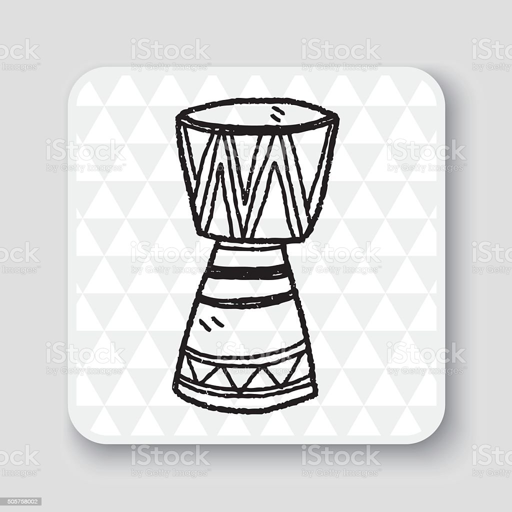 African drum doodle vector art illustration