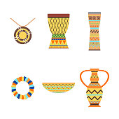African drums and vase vector illustration.
