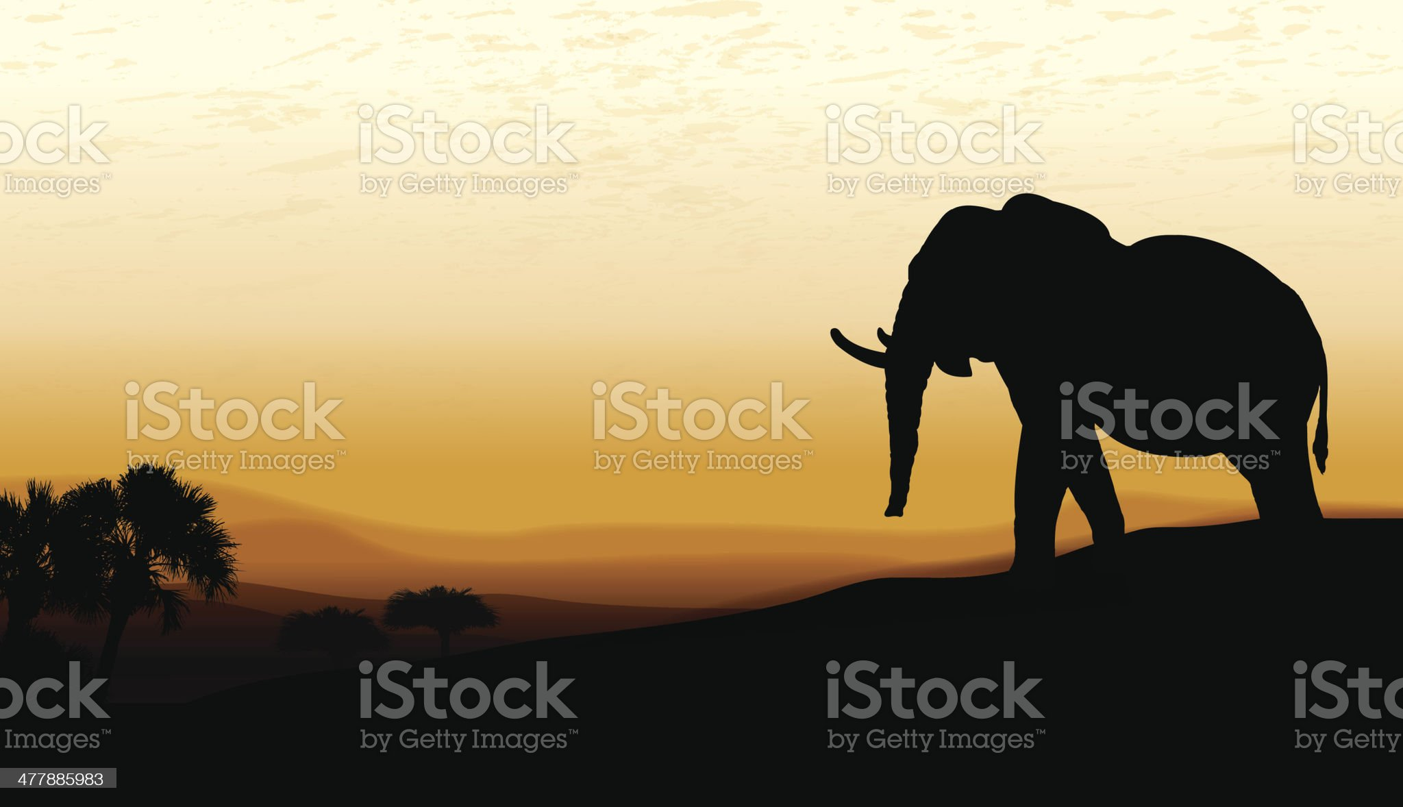 African Elephant at Twilight - Background royalty-free stock vector art