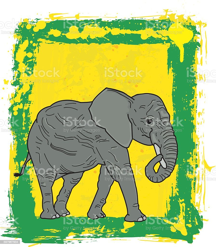 African Elephant On Painted Green Yellow Framed Background vector art illustration