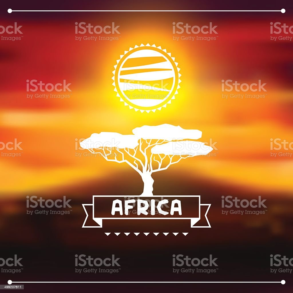 African ethnic background on evening savanna landscape. vector art illustration