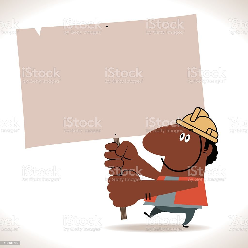 African Ethnicity Construction Worker Holding Blank Sign vector art illustration