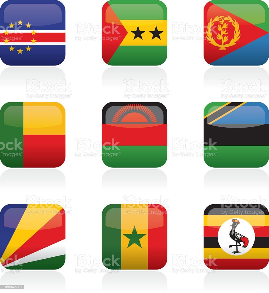 African Flag Buttons vector art illustration