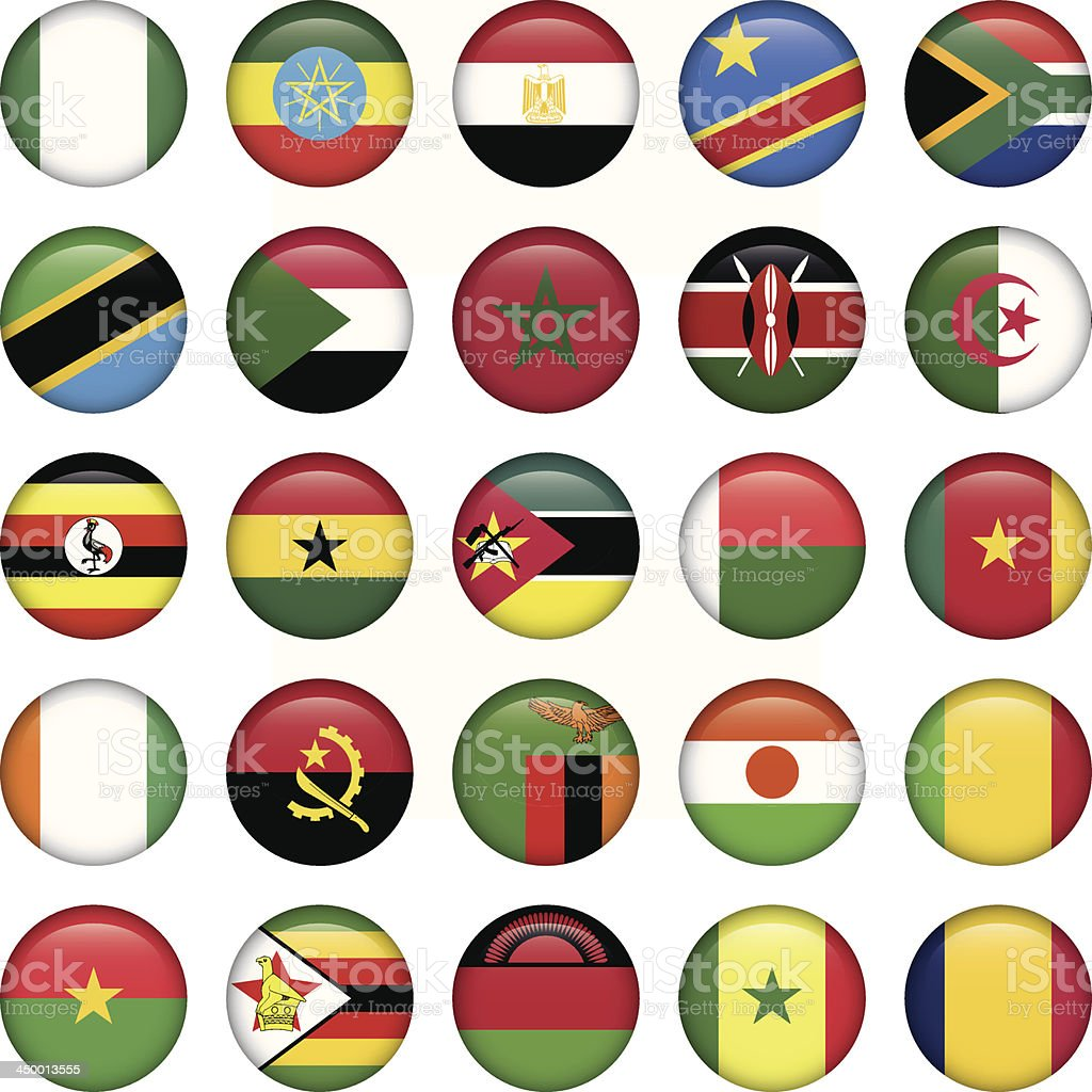 African Flags Round Icons royalty-free stock vector art
