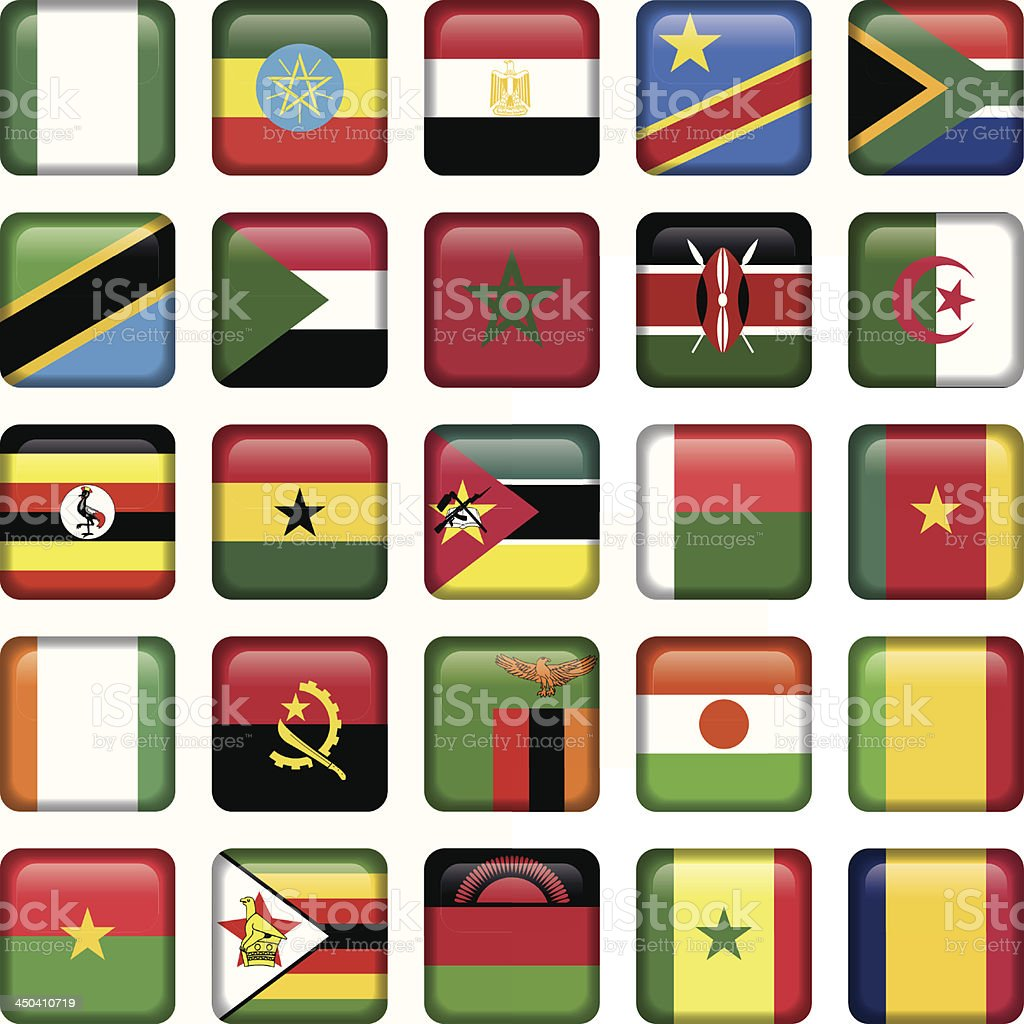African Flags Square Icons royalty-free stock vector art