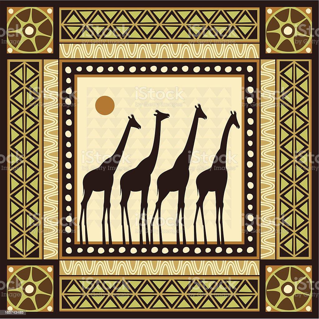 African Frame Scene vector art illustration