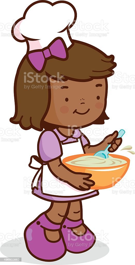 African girl chef cooking vector art illustration