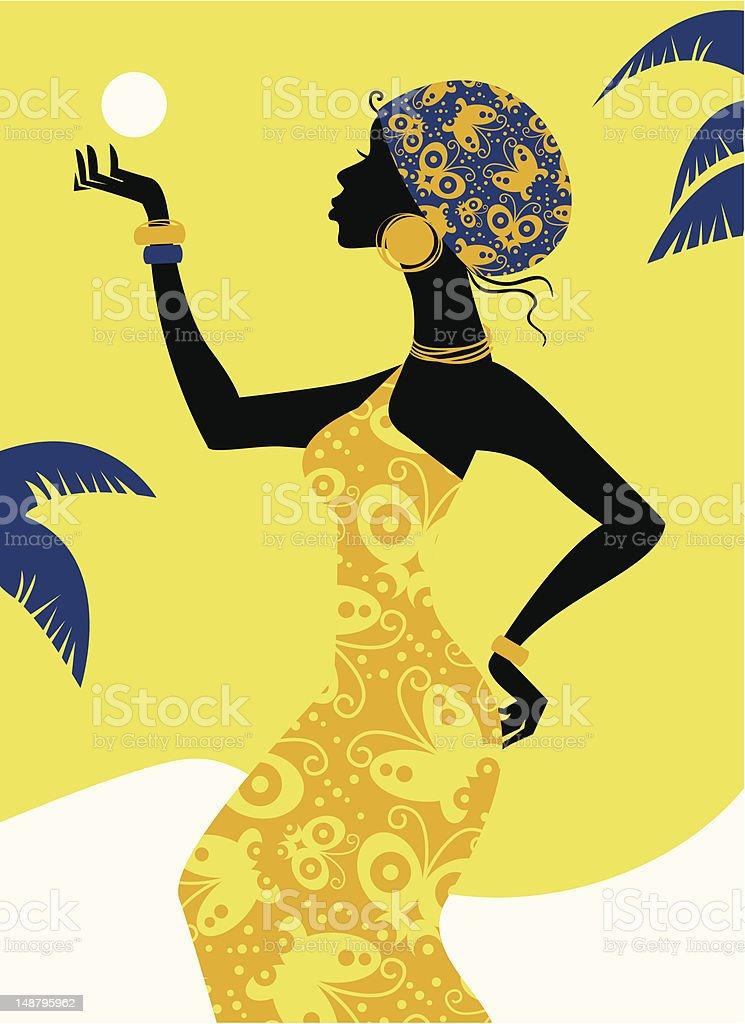 African girl silhouette vector art illustration