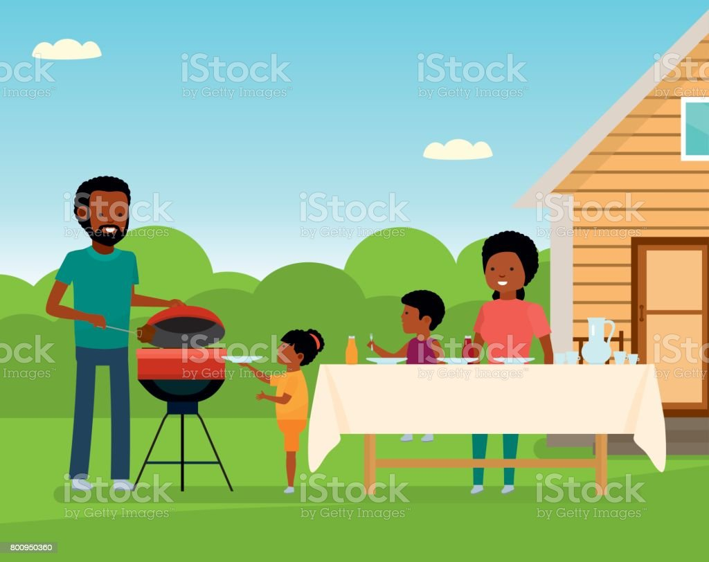 African Happy family preparing a barbecue grill outdoors. Family leisure vector art illustration