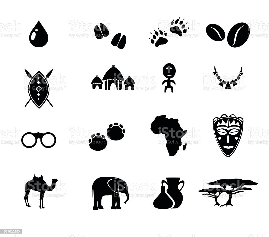African icon set vector illustration vector art illustration