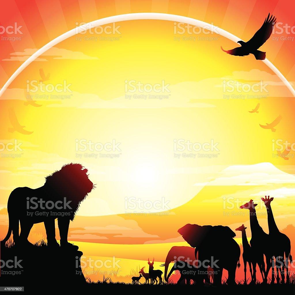 African Lion, Elephants, Giraffes and Antelopes silhouettes safari against Kilimanjaro vector art illustration