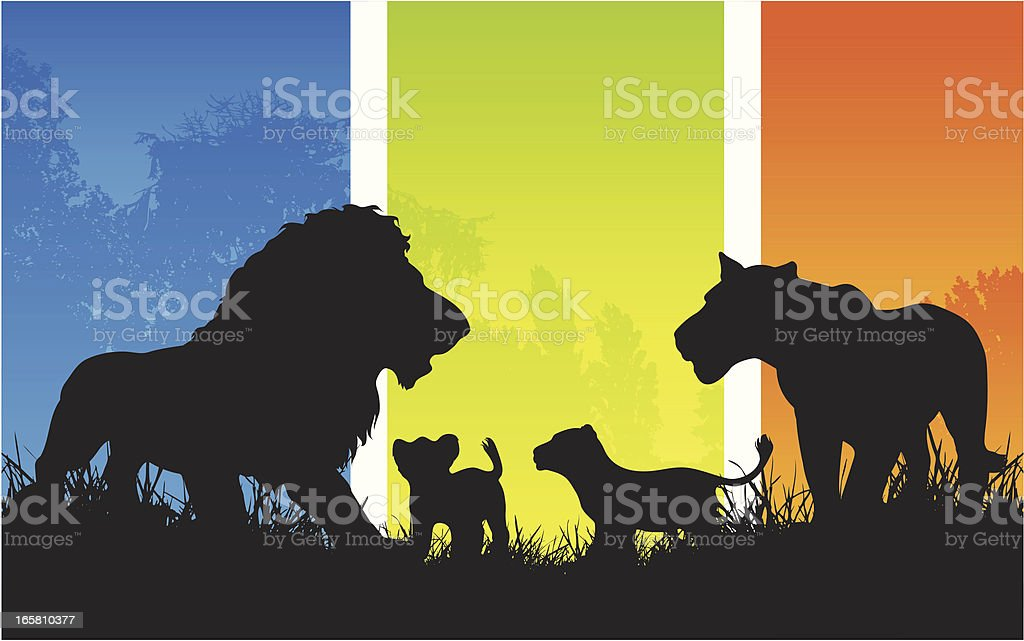 African lion family pride with cubs silhouette vector art illustration