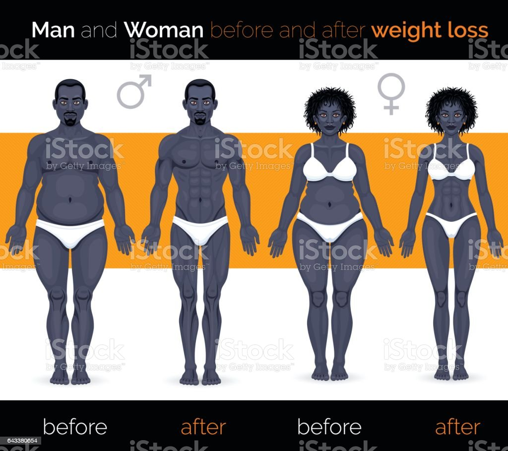 African man and african woman before and after weight loss vector art illustration