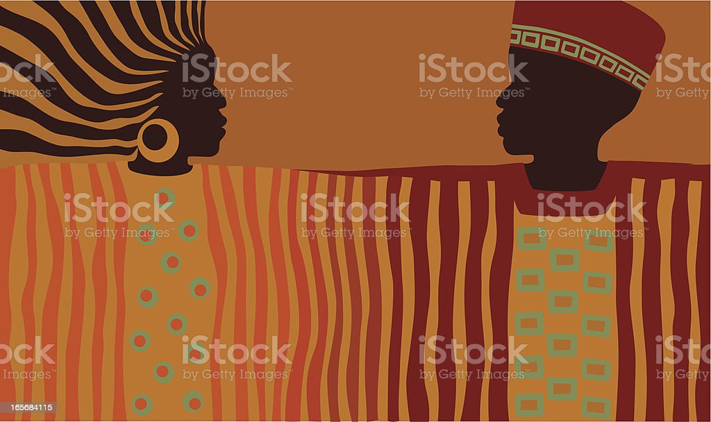 African Man and Woman vector art illustration