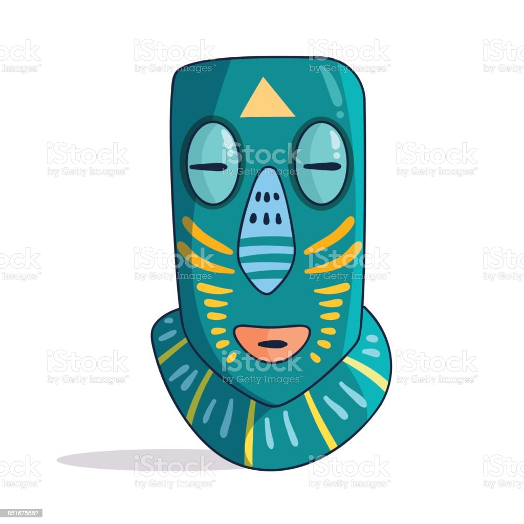 African mask. Colorful. Vector vector art illustration