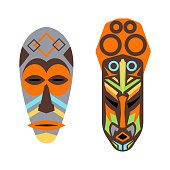 African mask vector set.