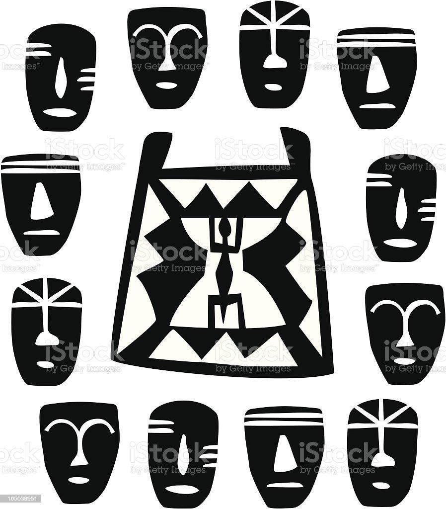 African masks (vector) vector art illustration