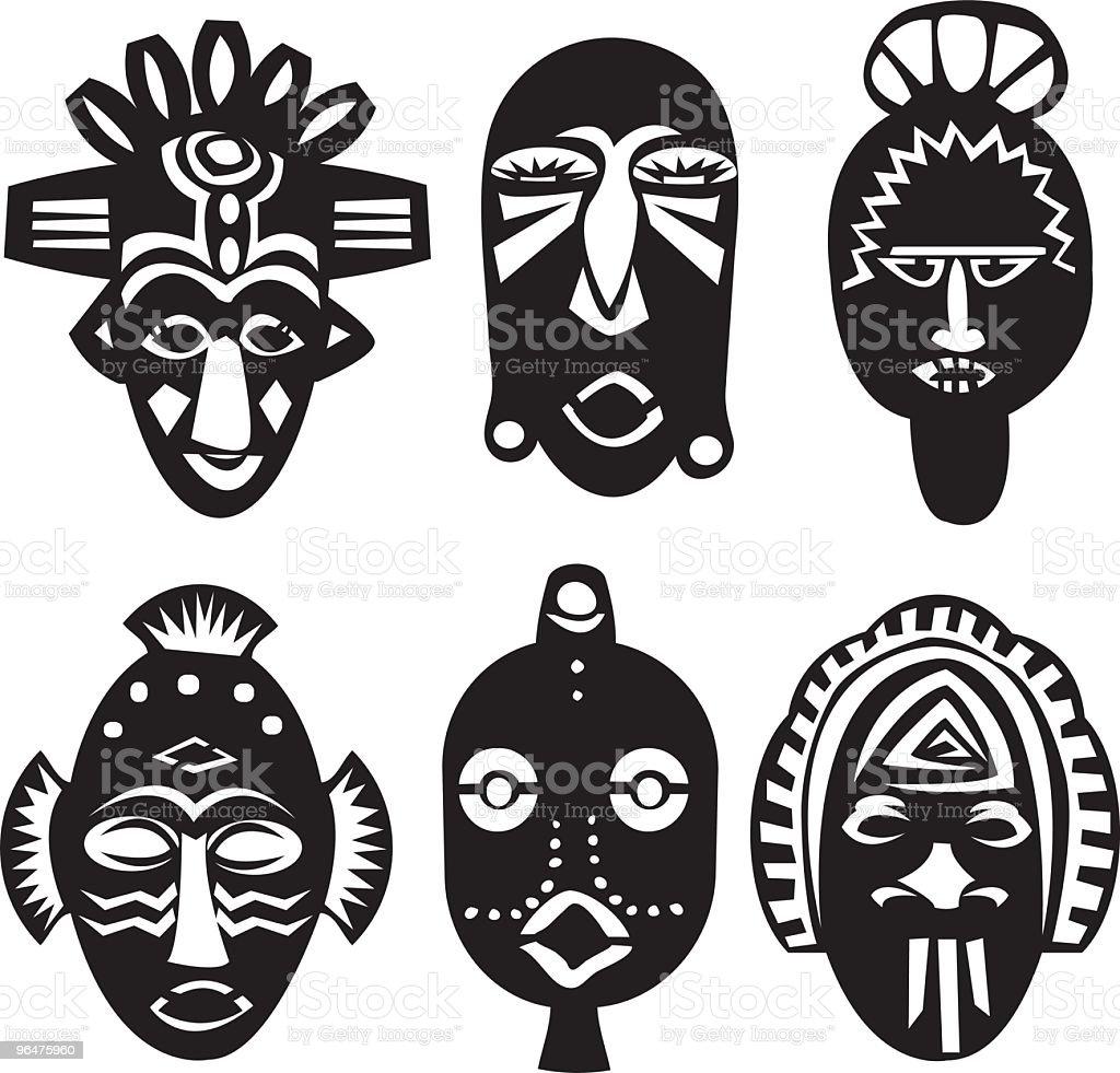 African Masks vector art illustration