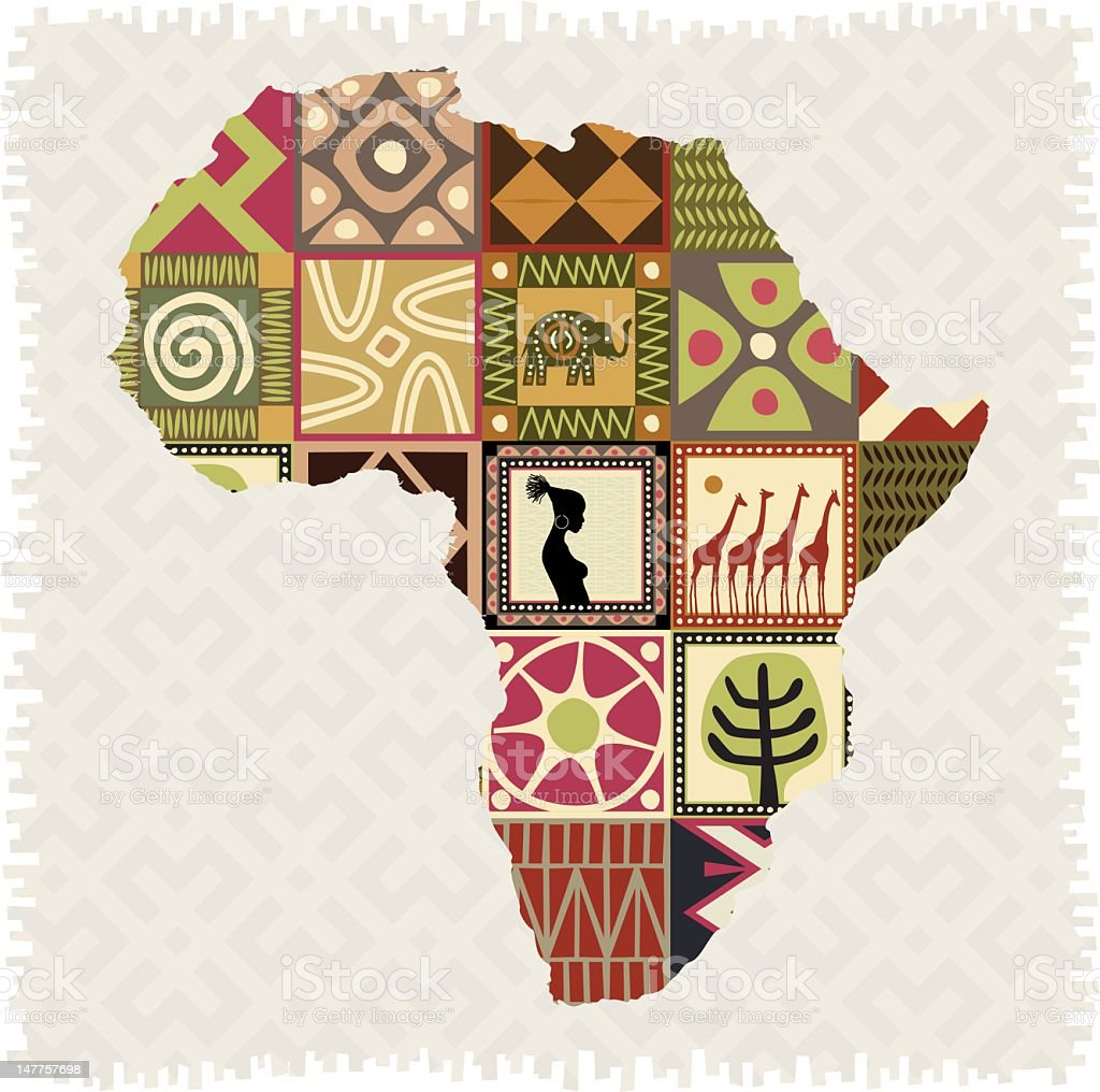 african mosaic in map stock photo