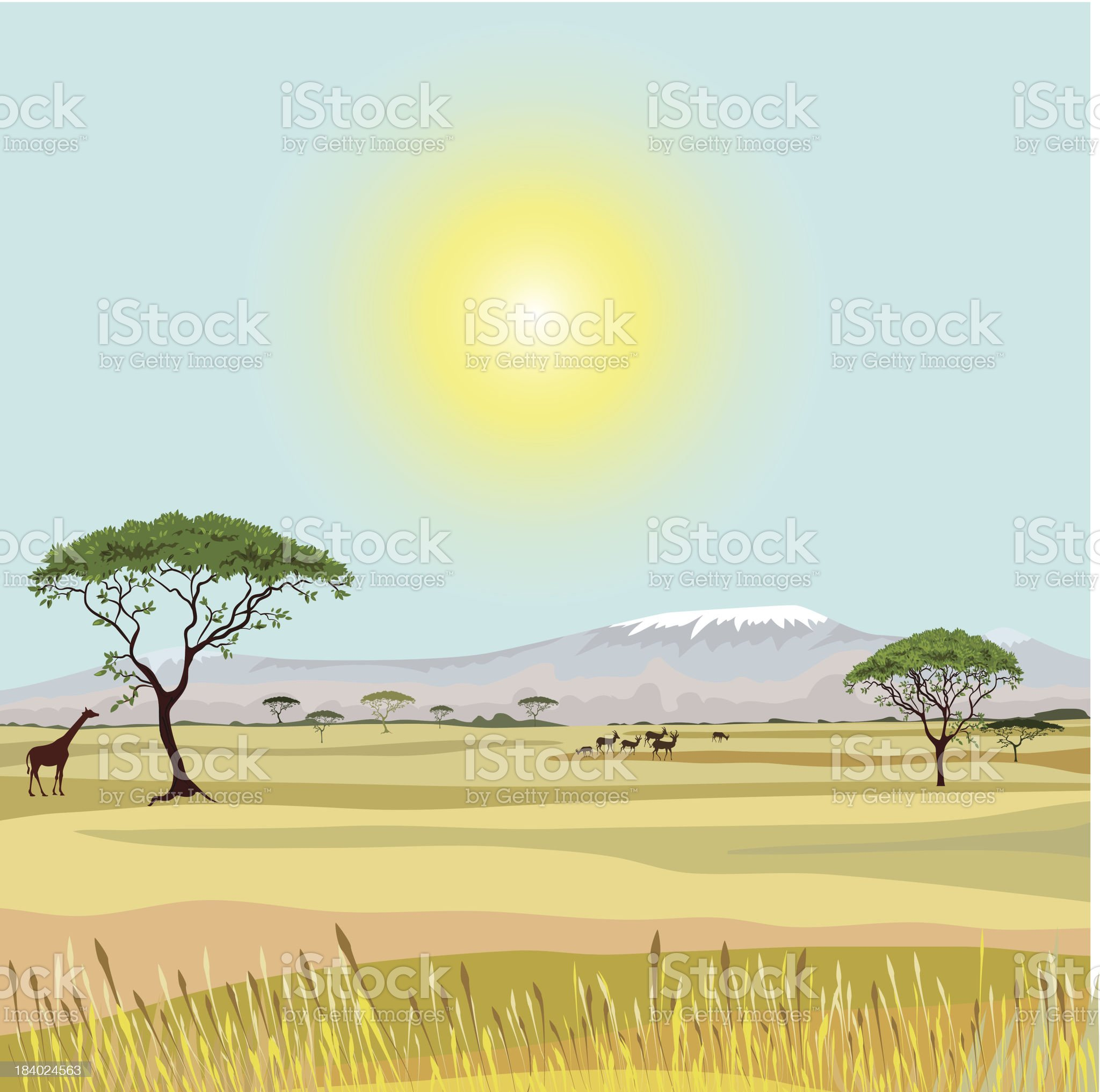 African Mountain idealistic landscape royalty-free stock vector art