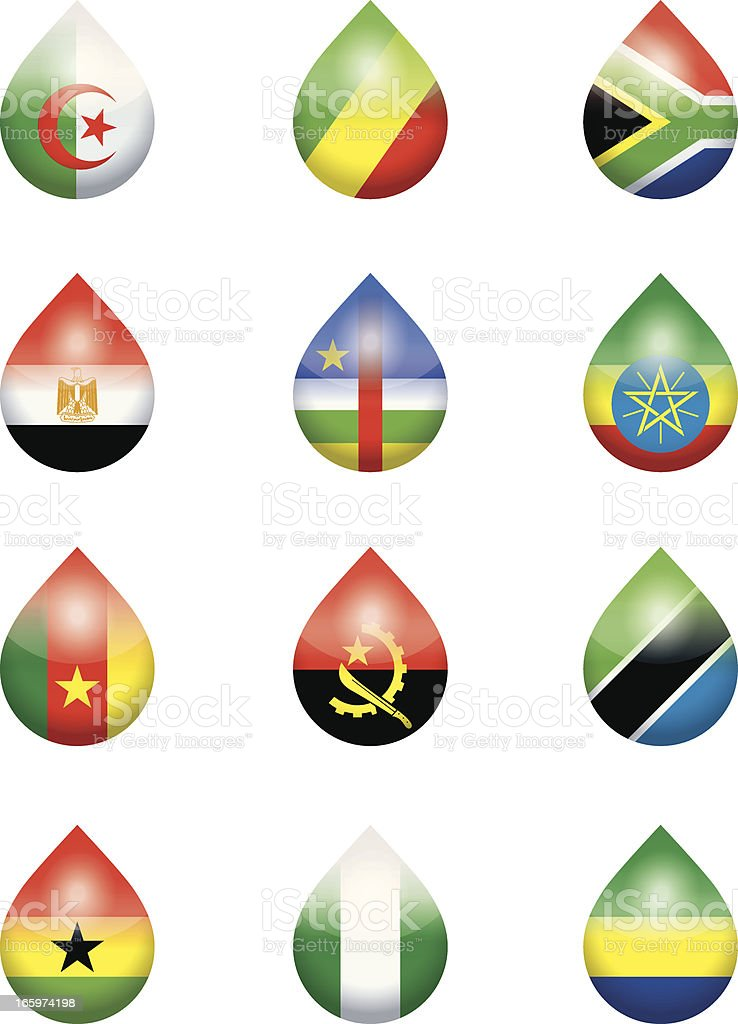 african national flags droplets royalty-free stock vector art