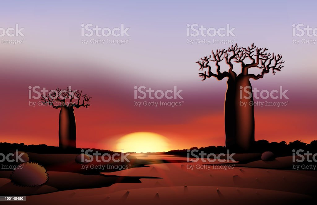 African nature in night royalty-free stock vector art
