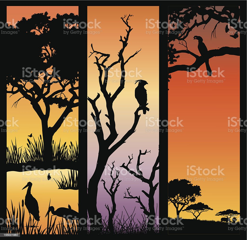 African nature silhouettes royalty-free stock vector art