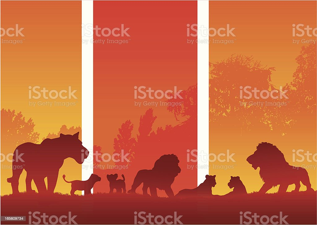 African pride of Lions with cubs in sunset silhouette royalty-free stock vector art