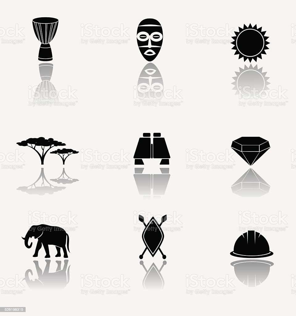 African safari and jungle. Vector icons. vector art illustration