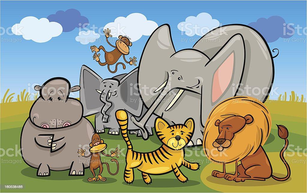 african safari wild animals cartoon illustration royalty-free stock vector art