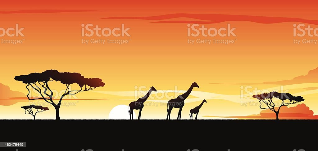 African savannah royalty-free stock vector art