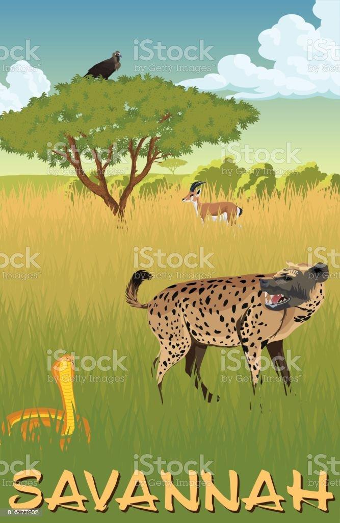 African savannah with hyenna, cobra and gazelle - vector illustration vector art illustration