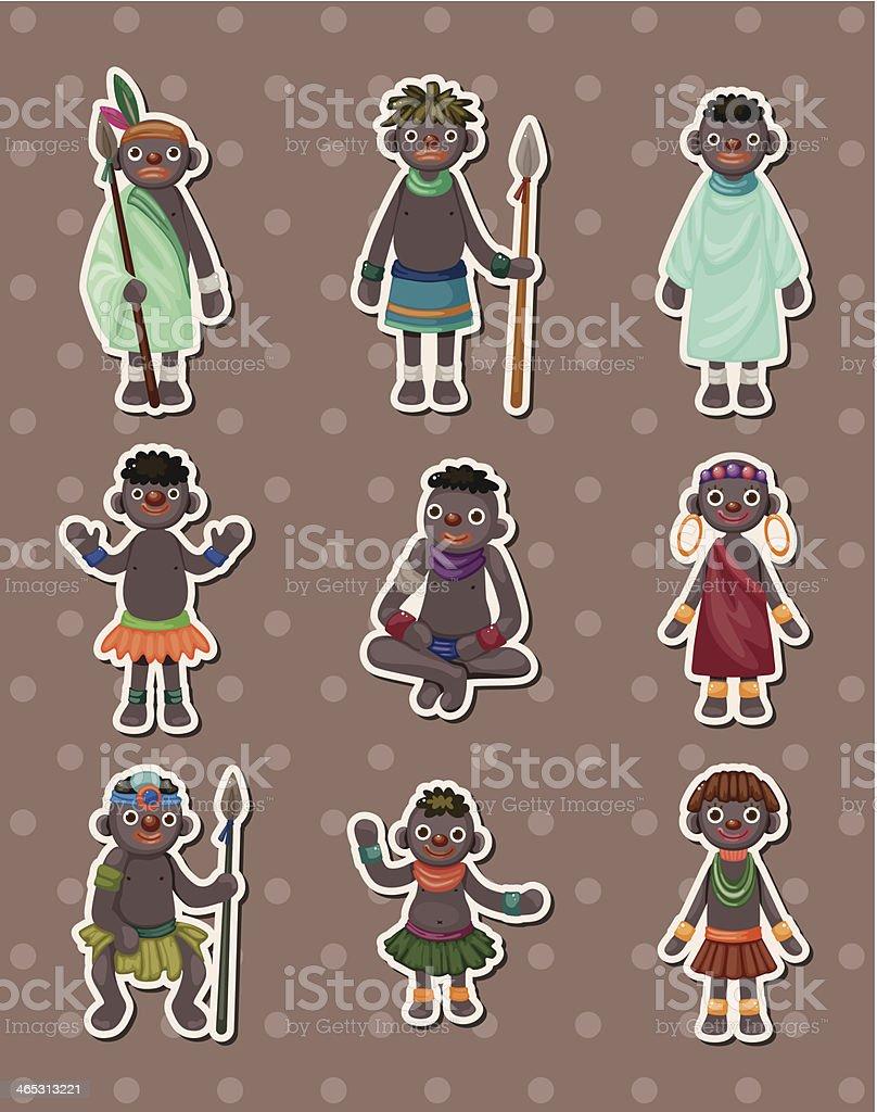 African stickers vector art illustration