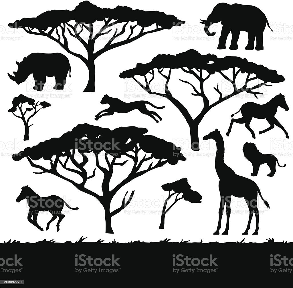African trees and animals, set of black silhouettes vector art illustration