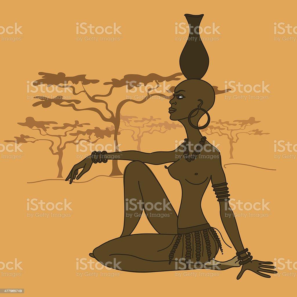 African tribal seminude girl royalty-free stock vector art