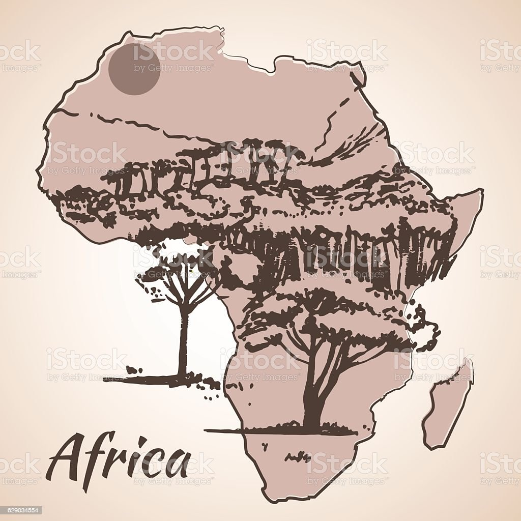 African view sketch on map. vector art illustration