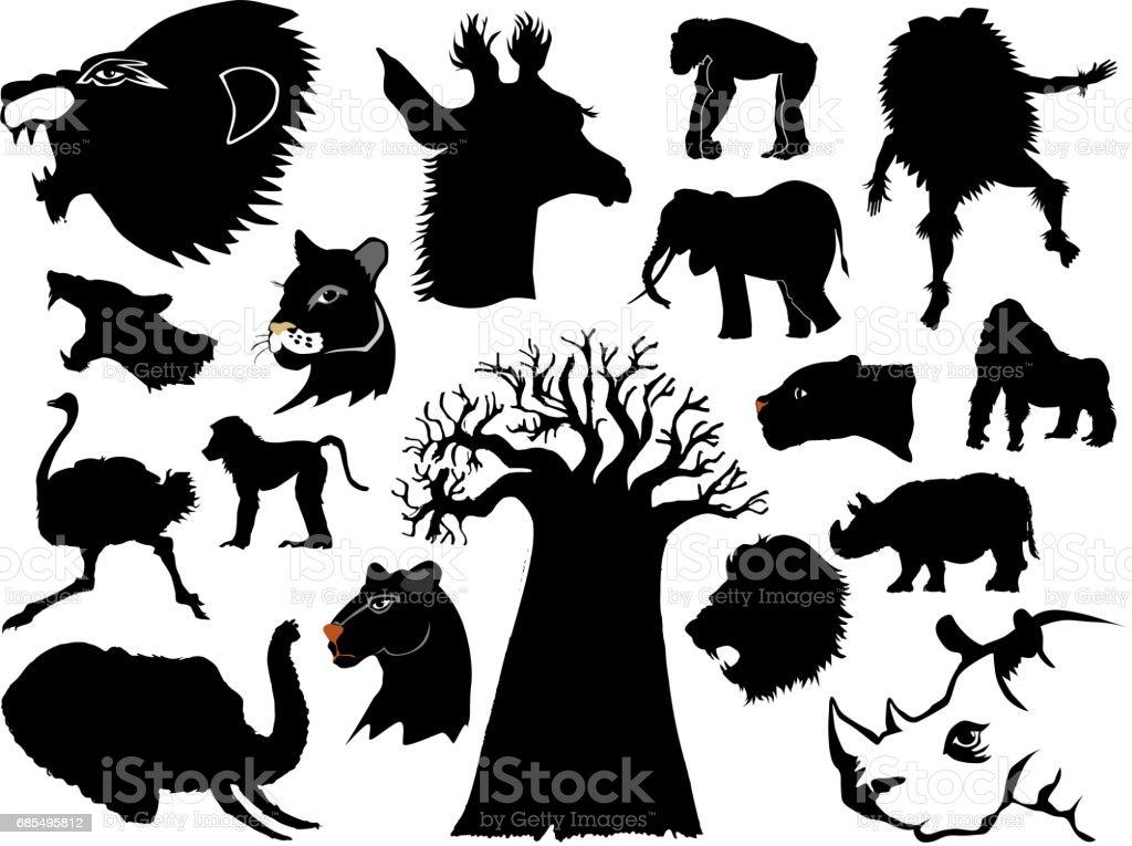 African wildlife vector art illustration