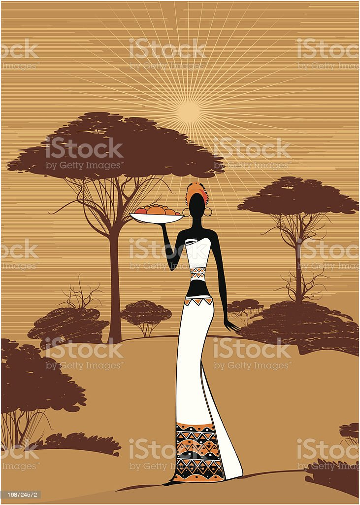 African woman in ethnic dress with plate of fruits royalty-free stock vector art