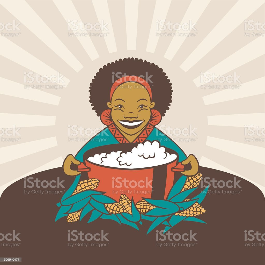 African Woman with Traditional Porridge royalty-free stock vector art